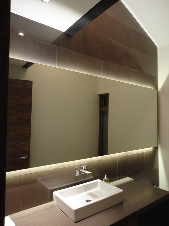 Backlit Mirror Powder Room