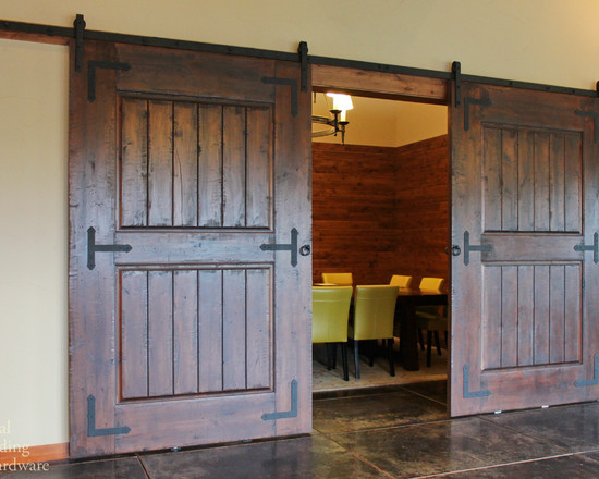 Rustic Barn Door Hardware On Wine Tasting Room